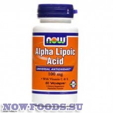 Альфа-липоевая кислота 100 mg 60 капсул - БАД NOW Alpha Lipoic Acid